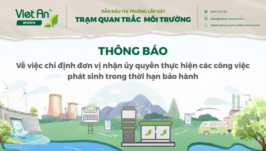 Việt An Enviro thông báo về việc chỉ định đơn vị nhận ủy quyền thực hiện các công việc phát sinh trong thời hạn bảo hành